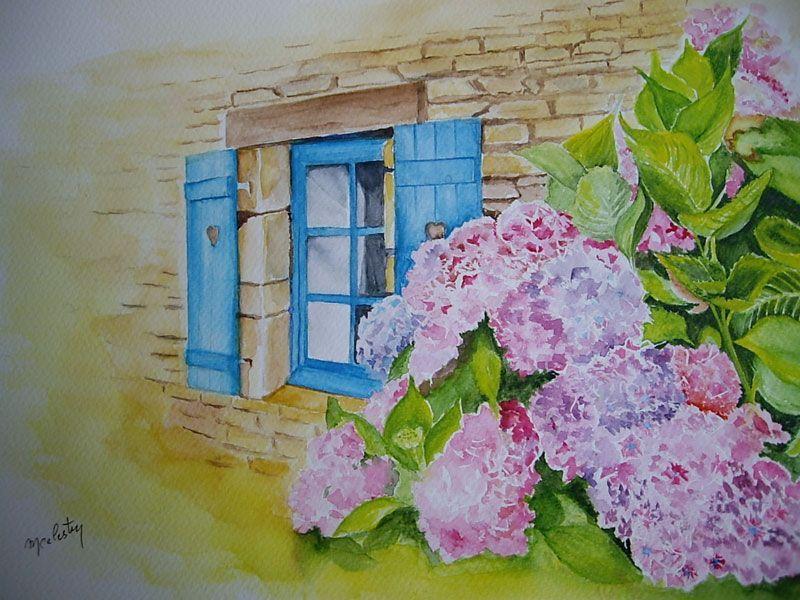 Fa ade de maison bretonne avec des hortensias for Aquarelle maison